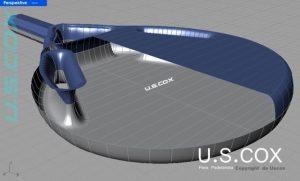 Vista 3D perspectiva frente mas corte donde va el núcleo elástico